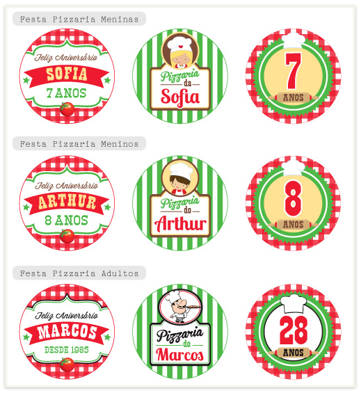 Adesivo De Carros Familia Feliz ~ Festa Pizzaria Quero uma festa kits para festas personalizadas