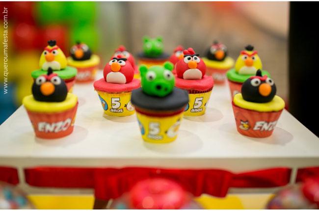 Festa Angry Birds - cupcakes personalizados
