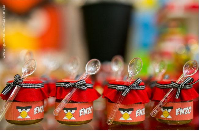 Festa Angry Birds - potinhos de brigadeiro personalizados