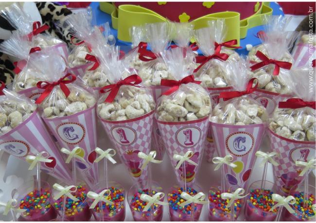 Cones festa circo cor de rosa - enfeites festa circo para meninas