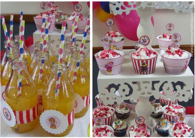 cupcakes e rótulos festa circo rosa - kit festa circo para meninas