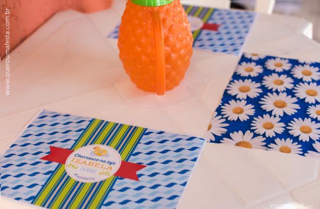 enfeites para mesa de Festa na laje, jogo americano festa na lage, jogo americano churrasco na laje, decoração festa na laje