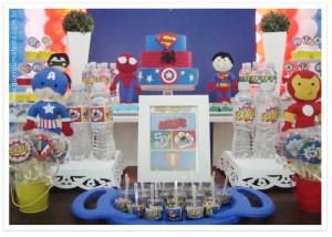 enfeites de mesa festa super-herois