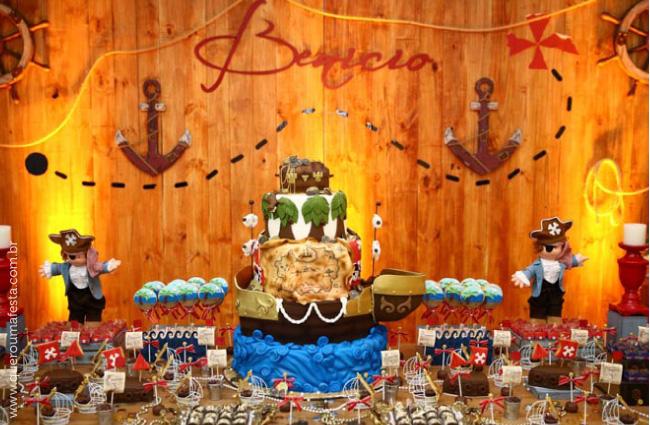 decoração mesa de festa Pirata