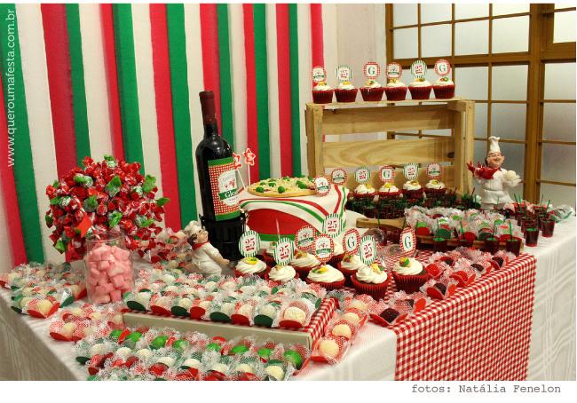 decoração de festa Cantina italiana