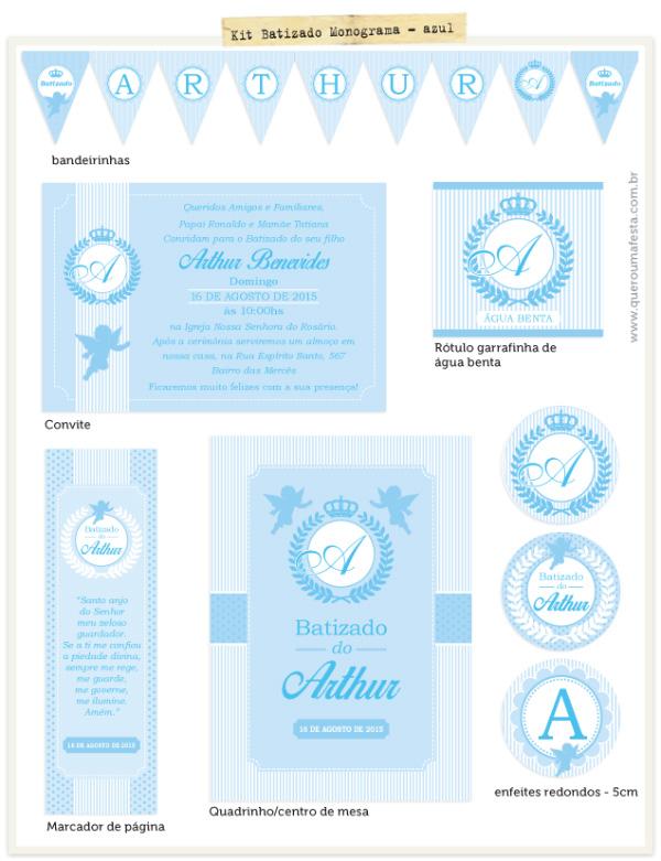 Festa Batizado azul para imprimir