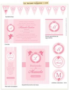 Festa Batizado Monograma Rosa para imprimir