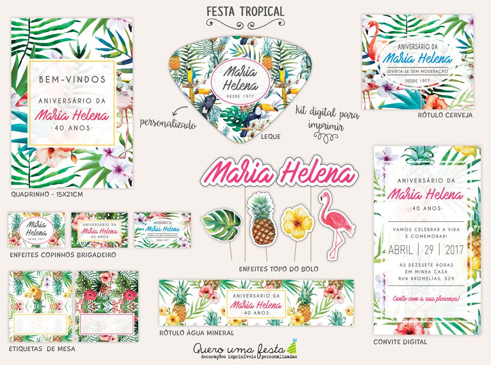 festa tropical, festa tropical para imprimir, kit festa flamingo