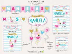 kit festa flamingo infantil para imprimir
