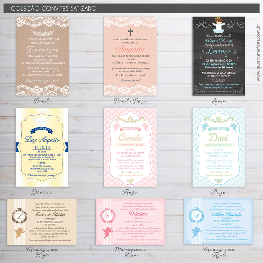 Convites para Batizado